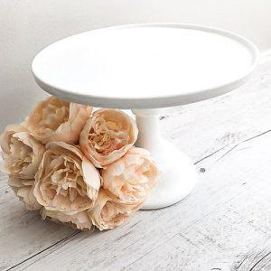 cake stand hire milk glass white pedestal