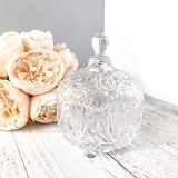 pressed glass lidded vintage compote square
