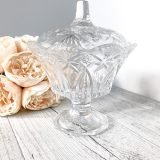pressed glass lidded vintage compote tulip