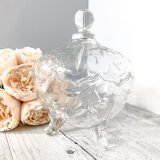 pressed glass lidded vintage compotes round