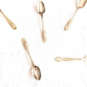 gold cutlery hire teaspoons