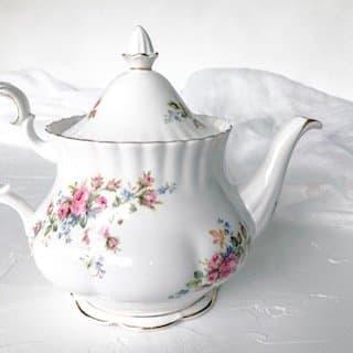 high tea set hire teapot royal albert moss rose