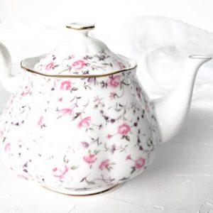 high tea set hire royal albert rose confetti teapot