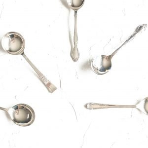 silver vintage cutlery hire soup spoons