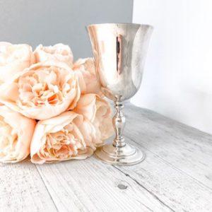 silver vintage wine goblet