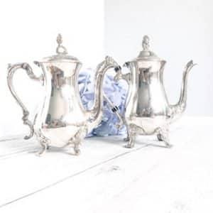 silver vintage teapot hire