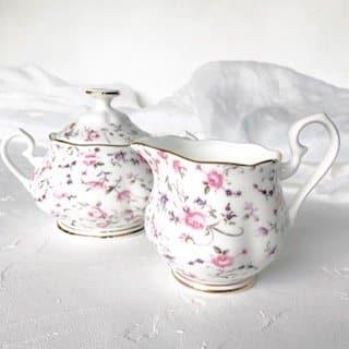 sydney high tea set hire royal albert rose confetti