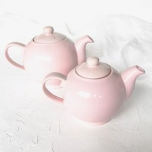 pink ceramic teapot hire