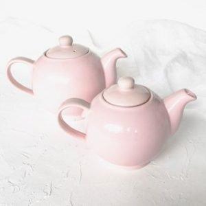 pink ceramic teapot hire