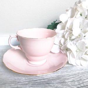 pastel pink vintage teacups for hire sydney