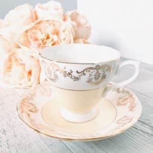 pastel yellow vintage teacups