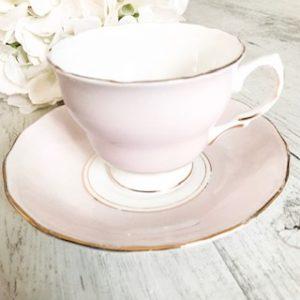 Vintage pink teacup hire