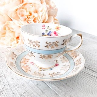 pale blue teacups for hire