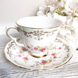 green floral teacup hire