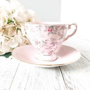 pink vintage teacup hire