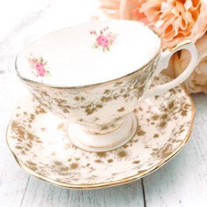 gold teacup hire royal albert parchment