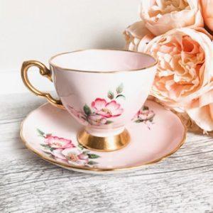 pink oriental print teacup hire