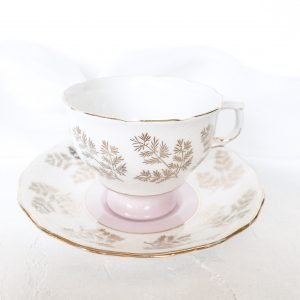 teacup hire pastel pink fern design