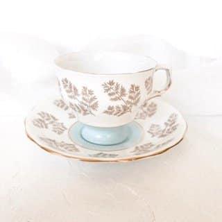 pastel blue vintage teacup hire