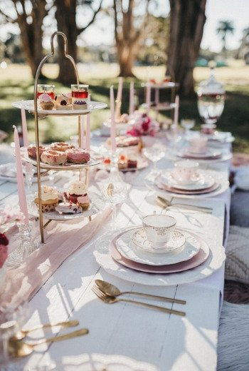 high tea table settings picnic outdoors