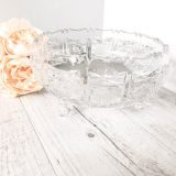 footed crystal cut fruit bowls