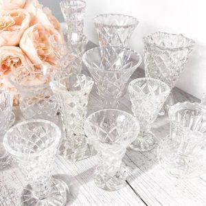 crystal cut bud vases