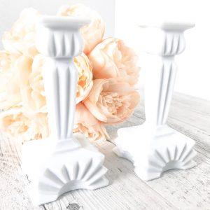 milk glass candlestick holders